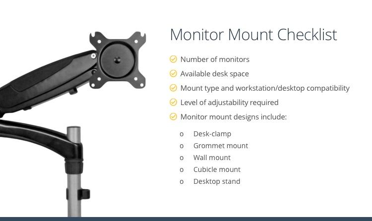 Checklist for choosing a monitor mount