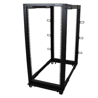 25HE 4 Pfosten Open Frame Server Rack tiefenverstellbar mit Rollen / Nivellierfüße und Kabelverwaltung