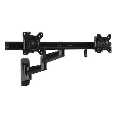 "Wall Mount Dual Monitor Arm – Articulating Ergonomic VESA Wall Mount for 2x 24"" Displays – Synchronized Adjustable Crossbar – Tilt/Swivel/Rotate- Double Screen Mount Bracket"