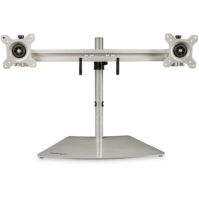 "Dual Monitor Stand - Ergonomic Free Standing Dual Monitor Desktop Stand for two 24"" VESA Mount Displays - Synchronized Height Adjustable - Double Monitor Pole Mount - Silver"