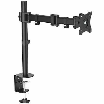 Desk Mount Monitor Arm for up to 8kg inch VESA Compatible Displays - Articulating Pole Mount Single Monitor Arm - Ergonomic Height Adjustable Monitor Mount - Desk Clamp/Grommet