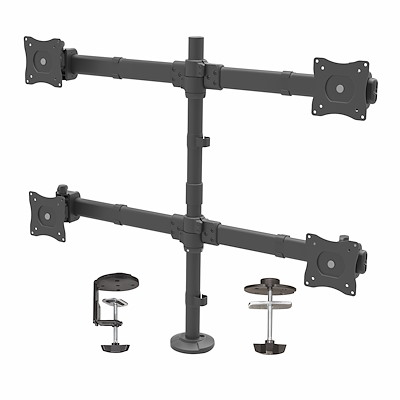 "Desk Mount Quad Monitor Arm - Ergonomic VESA 4 Monitor Mount 2x2 up to 27"" - Articulating & Height Adjustable Pole Mount - Tilt/Swivel/Rotate LCD/LED Screen - Desk Clamp/Grommet"