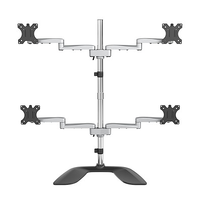 "Desktop Quad Monitor Stand - Ergonomic VESA 4 Monitor Arm (2x2) up to 32"" - Free Standing Articulating Universal Pole Mount - Height Adjustable/Tilt/Swivel/Rotate - Silver"