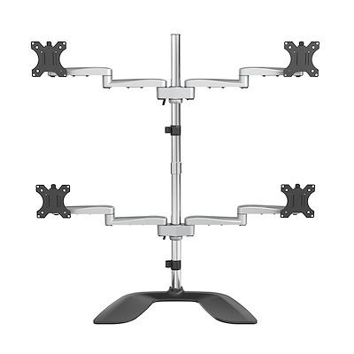 "Desktop Quad Monitor Stand - Ergonomic VESA 4 Monitor Arm (2x2) up to 32"" - Free Standing Articulating Universal Pole Mount - Height Adjustable/Tilt/Swivel/Rotate - Silver"