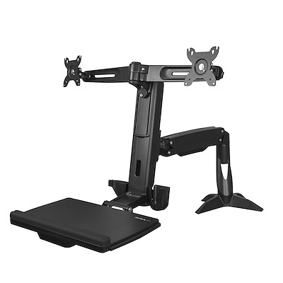 "Sit Stand Dual Monitor Arm - Desk Mount Dual Computer Monitor Adjustable Standing Workstation for up to 24"" Displays - VESA Ergonomic Stand Up Desk Converter w/ Keyboard Tray"