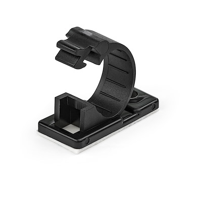 100 Adhesive Cable Management Clips Black - Network/Ethernet/Office Desk/Computer Cord Organizer - Sticky Cable/Wire Holders - Nylon Self Adhesive Clamp UL/94V-2 Fire Rated