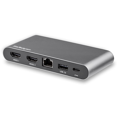 USB-C-Dock - 4K HDMI Display mit dual Monitoren - Mini-Laptop-Dockingstation - 100W PD 3.0 - GbE, USB-A-Hub mit 2 Anschlüssen - USB-Multiport-Adapter Typ C - 1m Kabel