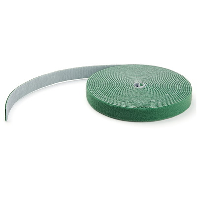 25ft Hook and Loop Roll - Cut-to-Size Reusable Cable Ties - Bulk Industrial Wire Fastener Tape /Adjustable Fabric Wraps Green / Resuable Self Gripping Cable Management Straps (HKLP25GN)