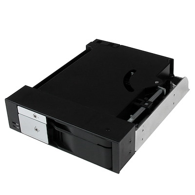 "Dual Bay 5.25"" Trayless Hot Swap Mobile Rack Backplane for 2.5"" and 3.5"" SATA/SAS HDD or SSD with Fan"