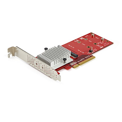 Dual M.2 PCIe SSD Adapter Card - x8 / x16 Dual NVMe or AHCI M.2 SSD to PCI Express 3.0 - M.2 NGFF PCIe (M-Key) Compatible - Supports 2242, 2260, 2280 - JBOD - Mac & PC