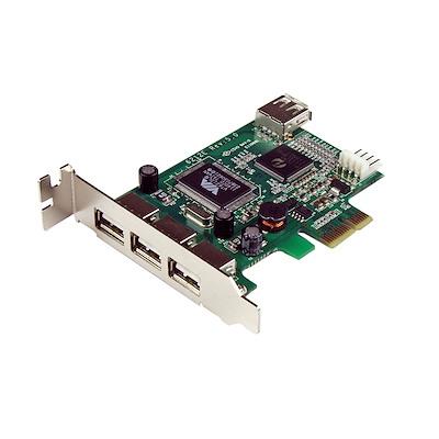 Adaptador Tarjeta PCI Express Perfil Bajo USB 2.0 Alta Velocidad - 3 Externos y 1 Interno