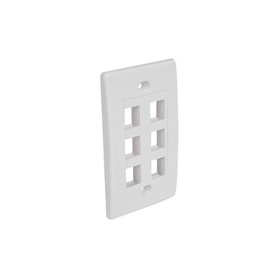 Selected 7 Outlet RJ45 Universal Wall Plate - White