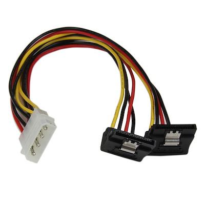 30 cm 4-Pin LP4 auf SATA Y-Stromkabel rechts gewinkelt - LP4 zu Serial-ATA Splitter Y-Kabel
