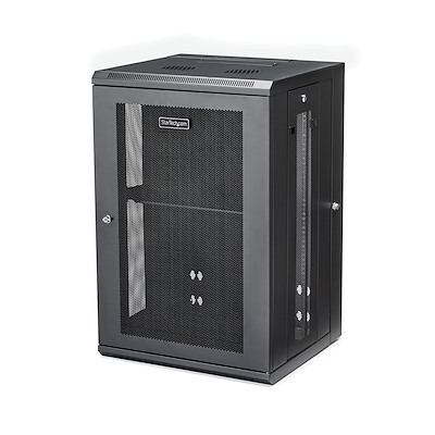 "18U 19"" Wall Mount Network Cabinet - 16"" Deep Hinged Locking IT Network Switch Depth Enclosure - Assembled Vented Computer Equipment Data Rack w/Shelf & Flexible Side Panels"