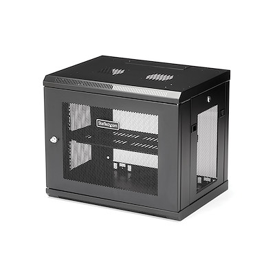 "2 Post 9U 19"" Wall Mount Network Cabinet - Adjustable Depth 6-15""- Locking IT Switch Depth Enclosure - Vented Computer/Electronics Equipment Data Rack w/Shelf & Hook & Loop Tape"