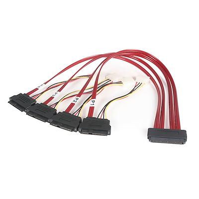 50cm seriële SCSI SAS kabel - SFF-8484 naar SFF-8482 met LP4 voeding