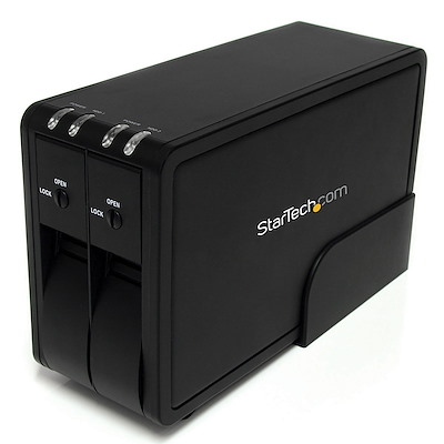 Dual 3.5in USB 3.0 Hot Swap Trayless SATA Hard Drive Enclosure w/ Fan