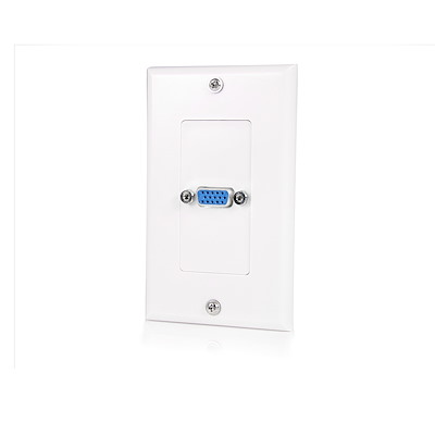 Single Outlet 15-Pin Female VGA Wall Plate - White