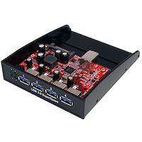 Panel Multipuertos Hub Concentrador USB 3.0 SuperSpeed para Bahía Frontal de 3,5 o 5,25 Pulgadas