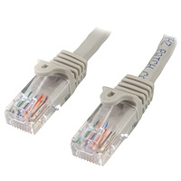Cat5e Patch Cable with Snagless RJ45 Connectors - 10 ft, Gray