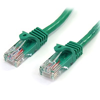 Cat5e Ethernet Patch Cable with Snagless RJ45 Connectors - 0.5 m, Green