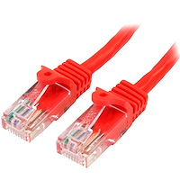 Cat5e Ethernet Patch Cable with Snagless RJ45 Connectors - 0.5 m, Red
