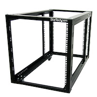 12U 4 Post Server Equipment Open Frame Rack Cabinet w/ Adjustable Posts & Casters
