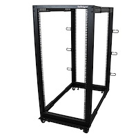 25U Adjustable Depth Open Frame 4 Post Server Rack w/ Casters / Levelers and Cable Management Hooks