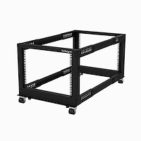 "8U 19"" Open Frame Server Rack - Compact 4 Post Adjustable Depth (23-41"") Mobile - Free Standing Network/Computer Equipment Data Rack - Dell PowerEdge HP ProLiant ThinkServer (4POSTRACK8U)"