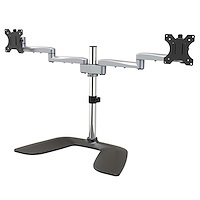 "Dual Monitor Stand - Ergonomic Desktop Monitor Stand for up to 32"" VESA Displays - Free-Standing Articulating Universal Computer Monitor Mount - Adjustable Height - Silver"
