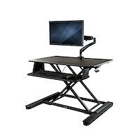"Sit-Stand Desk Converter with Monitor Arm - 35"" Wide Work Surface - For up to 26"" Monitor"