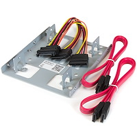 "Dual 2.5"" to 3.5"" HDD Bracket for SATA Hard Drives - 2 Drive 2.5"" to 3.5"" Bracket for Mounting Bay"