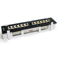 12 Port 1U Wall Mount Cat 6 110 Patch Panel - 45 Degree