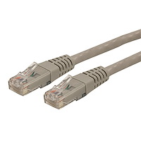 3ft CAT6 Ethernet Cable - Gray CAT 6 Gigabit Ethernet Wire -650MHz 100W PoE++ RJ45 UTP Molded Category 6 Network/Patch Cord w/Strain Relief/Fluke Tested UL/TIA Certified