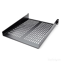 2U 22in Vented Rack Mount Shelf – Fixed Server Rack Cabinet Shelf - 50lbs / 22kg