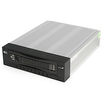 Black 3.5in SATA SAS Removable Hard Drive Mobile Rack for 5.25in Bay