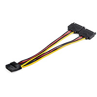 Dual SATA to LP4 Power Doubler Cable Adapter – 2 SATA to 4 Pin LP4 Internal PC Peripheral Power Supply Connector – SATA Y Cable – Male/Female – 18 AWG Wire – 9 Amps/108W
