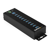 10 Port USB Hub with Power Adapter - Surge Protection - Metal Industrial USB 3.0 Data Transfer Hub - Din Rail, Wall or Desk Mountable - High Speed USB 3.1 Gen 1 5Gbps Hub
