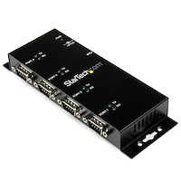 4 Port USB to DB9 RS232 Serial Adapter Hub – Industrial DIN Rail and Wall Mountable