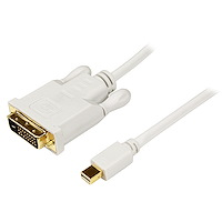 6 ft Mini DisplayPort to DVI Adapter Converter Cable – Mini DP to DVI 1920x1200 - White