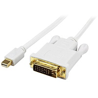 6 ft Mini DisplayPort to DVI Active Adapter Converter Cable - mDP to DVI 1920x1200 - White