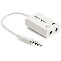 White headset adapter for headsets with separate headphone / microphone plugs - 3.5mm 4 position to 2x 3 position 3.5mm M/F