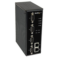 4 Port Industrial RS-232 / 422 / 485 Serial to IP Ethernet Device Server - PoE-Powered - 2x 10/100Mbps Ports