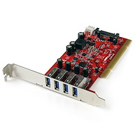 4-poorts PCI SuperSpeed USB 3.0-adapterkaart met SATA-/SP4-voeding