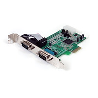 Native PCI express RS232 seriell-kortadapter med 2 portar och 16550 UART