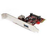 2 port PCI Express SuperSpeed USB 3.0 Card with UASP Support - 1 Internal 1 External
