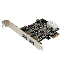 2 Port PCI Express (PCIe) SuperSpeed USB 3.0 Card Adapter with UASP - LP4 Power