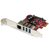 3 Port PCI Express USB 3.0 Karte mit Gigabit Ethernet