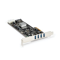 4 Port PCI Express (PCIe) SuperSpeed USB 3.0 Card Adapter w/ 4 Dedicated 5Gbps Channels - UASP - SATA / LP4 Power