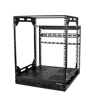 "12U Sliding Rotating Open Frame Network Rack - 4 Post AV /Data Rack - 16.7"" Deep Slide-Out IT Equipment Rack w/Cable Management Pull Out/Pivoting Computer/Communications Rack"